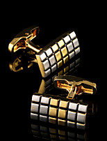 Luxury Plaid Pattern Gold Shirt Cufflinks for Mens Brand Euramerican Cuff Buttons French Cuff links Wedding Men's Jewelry