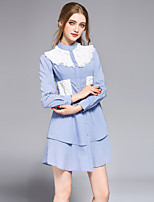 DFFDWomen's Going out Casual/Daily Party Simple Cute Street chic Shirt DressStriped Shirt Collar Mini Long Sleeve Cotton Spring SummerMid