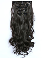 12pcs/Set 150g Dark Brown Wavy Hair Extension Clip In Synthetic Hair Extensions