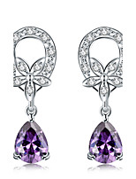 Elegant Silver Plated Amethyst Purple Crystal Waterdrop Earrings for Wedding Party Women Accessiories