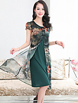 Women's Plus Size Going out Simple Shift Dress,Print Round Neck Midi Short Sleeve Polyester Summer Fall Mid Rise Inelastic Medium