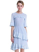 Fashion Wild 1/2 Sleeves Round Neck Lotus Leaf Was Thin Blue Dress Party Cocktail Holiday Dating Dresses