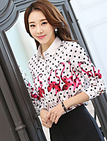 Sign SOLO Korea Sign 2017 spring new Slim POLO collar long-sleeved Flamingo Polka Dot lining