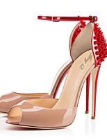 Femme-Mariage Habillé Soirée & Evénement-Rouge-Talon Aiguille-Confort Nouveauté-Sandales-Polyuréthane