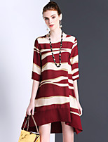 Women's Casual/Daily Cute A Line Dress,Striped Round Neck Above Knee ½ Length Sleeve Silk Summer Mid Rise Inelastic Thin
