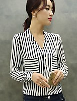 Women's Casual/Daily Formal Work Simple Blouse,Striped V Neck Long Sleeve Polyester