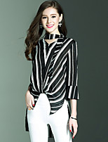 NEDO Women's Going out Casual/Daily Holiday Simple Street chic Sophisticated Spring Summer ShirtStriped V Neck Long Sleeve Cotton Polyester