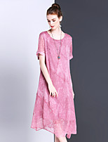 Women's Going out Casual/Daily Work Simple Sophisticated Loose Dress,Solid Jacquard Round Neck Midi Asymmetrical Short Sleeve Silk Summer