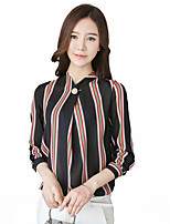 Women's Casual/Daily Simple Shirt,Solid Galaxy Round Neck Long Sleeve Polyester