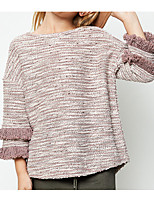 Casual/Daily Solid Sweater & Cardigan,Cotton Winter Fall Long Sleeve Regular