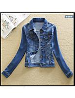 Women's Casual/Daily Cute Spring Fall Denim Jacket,Solid Shirt Collar Long Sleeve Short Cotton