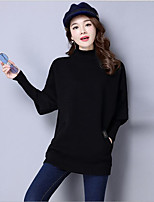Women's Casual/Daily Regular Pullover,Solid Turtleneck Long Sleeve Acrylic Fall Thick Micro-elastic