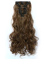 12pcs/Set 150g Medium Golden Brown Wavy Hair Extension Clip In Synthetic Hair Extensions