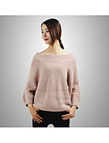 Women's Casual/Daily Simple Long Pullover,Solid Boat Neck Long Sleeve Faux Fur Spring Fall Thick Micro-elastic