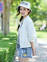 Women's Going out Casual/Daily Cute Spring Denim Jacket,Print Stand Long Sleeve Short Cotton