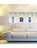 Blue And White Porcelain 3D Sitting Room The Bedroom Decorates A Wall Post