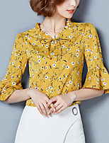 Women's Plus Size Casual/Daily Work Street chic Summer Loose Blouse Print Ruffle Stand 1/2 Length Sleeve Flare Sleeve Polyester Thin