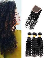 One Pack Solution Cheveux Brésiliens Ondulation profonde 12 mois 4 Pièces tissages de cheveux