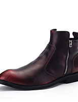 мужские сапоги весна осень зима комфорт кожи офис&карьеры случайный черно-коричневый