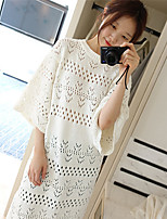 Women's Going out Long Pullover,Solid Round Neck ½ Length Sleeve Acrylic Spring Summer Medium Inelastic