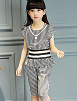 Girls' Casual/Daily Striped Patchwork Sets,Cotton Summer Short Sleeve Clothing Set