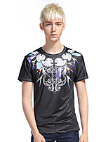 Men's Going out Casual/Daily Club Simple Punk & Gothic T-shirt,Print Round Neck Short Sleeve Cotton