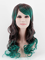 Fashion gradient brown green mixed long oblique Bangs big wave high temperature wire wig