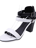 Sandals Spring Summer Fall Club Shoes PU Office & Career Party & Evening Dress Chunky Heel Buckle Brown White