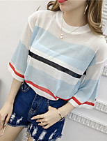 Women's Fine Stripe Going out Casual/Daily Party Simple Short Pullover,Color Block Round Neck Short Sleeve Rayon Summer Thin Micro-elastic