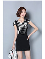 Women's Casual/Daily Simple Summer Tank Top Skirt Suits,Striped V Neck Short Sleeve Cotton