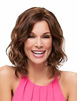 Short Medium Wig For Women Wavy Curl Brown Natural Fashion Synthetic Wigs