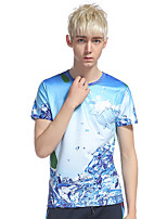 Men's Going out Casual/Daily Beach Simple Punk & Gothic T-shirt,Print Round Neck Short Sleeve Cotton