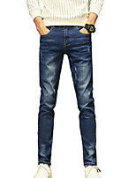Men's Mid Rise Micro-elastic Jeans PantsSimple Slim Solid ACD-A135