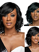 Body Wave Synthetic Hair Women Lady Daily Capless Wig with Bang Black Short Perruques