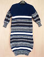 Damen Lang Pullover-Ausgehen Lässig/Alltäglich Solide Gestreift Rundhalsausschnitt ¾-Arm Acryl Frühling Herbst Mittel Mikro-elastisch