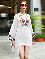 Women's Embroidery/Flare Sleeve Going out Casual/Daily Bodycon Dress,Solid V Neck Above Knee Long Sleeve Spring High Rise Micro-elastic Medium