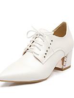 Белый Черный Бежевый Розовый-Для женщин-Для офиса Для праздника Для вечеринки / ужина-Полиуретан-На толстом каблуке-клуб Обувь-Обувь на