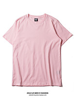 Women's Casual/Daily Simple Cute Summer T-shirt,Solid Round Neck Short Sleeve Cotton Medium