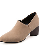 Damen-High Heels-Büro Kleid Lässig-Vlies-Blockabsatz-Club-Schuhe-Schwarz Grau Mandelfarben