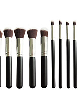 New 10 Black Silver Face Eye Lip Makeup Brush Sets Shading Brush Brush Highlights Beginners Essential Professional Makeup Brush Bag Mail