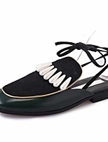 Slippers & Flip-Flops Summer Fall Slingback PU Office & Career Dress Casual Flat Heel Lace-up Green Burgundy Walking