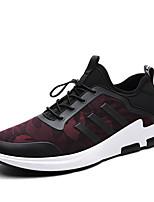 Hombre-Tacón Plano-Confort-Zapatillas de deporte-Exterior Informal Deporte-PU-Negro Negro/Rojo