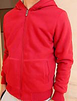 Hoodie Jacket Homme Décontracté / Quotidien Sortie simple Couleur Pleine Col en V Non Elastique Coton Manches Longues Hiver