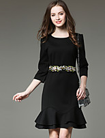 SUOQI Fashion Round Neck  Sleeve Black Mermaid Dress Embroidered Bow Accept Waist Dresses Temperament Was Thin