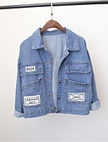 Women's Going out Cute Spring Denim Jacket,Solid Notch Lapel Long Sleeve Short Others