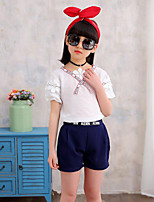 Girls' Casual/Daily Holiday Solid Print Sets,Cotton Summer Short Sleeve Clothing Set