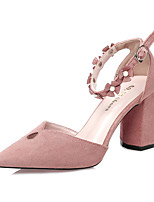 Women's Heels Spring Summer Comfort Suede Dress Chunky Heel Buckle Khaki Blushing Pink Green Black