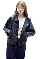 Women's Going out Casual/Daily Simple Fall Leather Jacket,Solid Stand Long Sleeve Short PU
