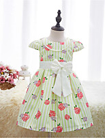 Girl's Casual/Daily Holiday School Striped Floral Dress,Cotton Summer Spring Sleeveless