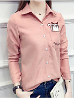Women's Casual/Daily Simple Cute All Seasons Shirt,Embroidered Shirt Collar Long Sleeve Polyester Medium